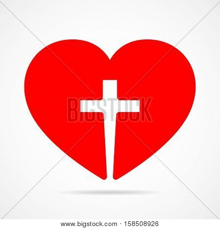Red heart with Christian cross. Vector illustration. Christian symbol.