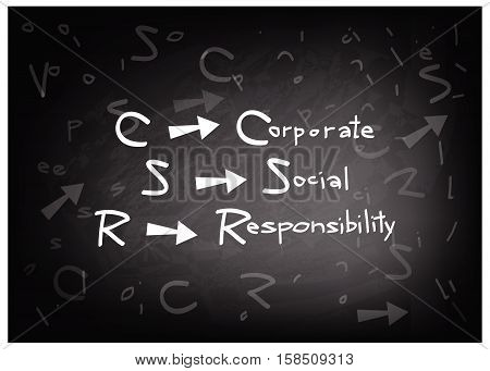 Business Concepts CSR Abbreviation or Corporate Social Responsibility on A Blackboard.