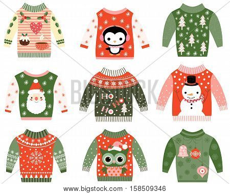 Ugly Christmas sweaters vector set, Cute sweater party invitation clip art collection in red and green colors