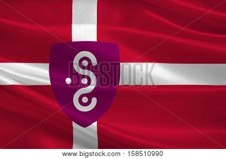 Flag of Syddjurs in Central Jutland Region in Denmark. 3d illustration