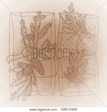 Gift packages made of craft paper with coniferous decorations. Pine tree branches and cones under the snow flakes. Vector design elements isolated on the vintage background in ocher colors.