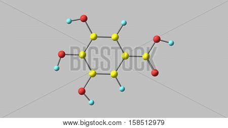 Gallic acid is a trihydroxybenzoic acid a type of phenolic acid found in gallnuts sumac witch hazel tea leaves oak bark and other plants. 3d illustration