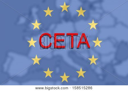 Ceta - Comprehensive Economic And Trade Agreement On Euro Union And Europe Map