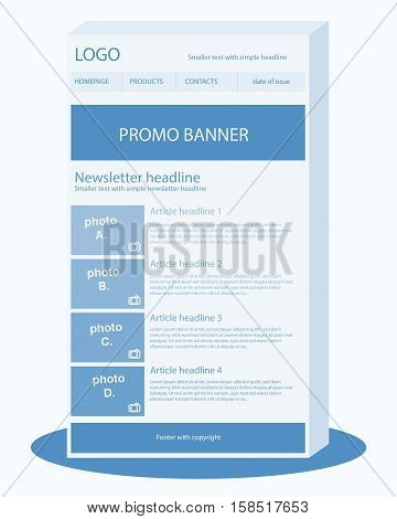 Newsletter light blue template with headline and banner