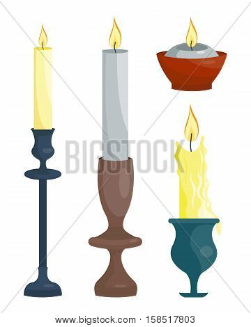 Set of candles and candle holders. Vector illustration. Cartoon style