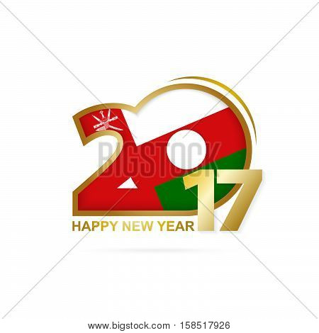 Year 2017 With Oman Flag Pattern. Happy New Year Design On White Background.