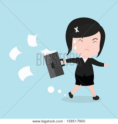 Business Woman Is Running Late Time, Cartoon