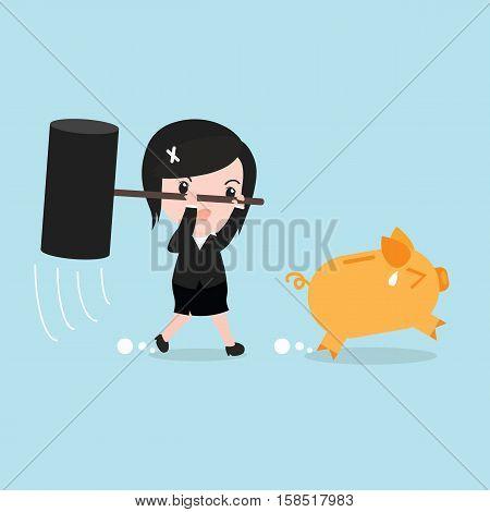 Business Woman Try To Brake Piggy Bank, Cartoon