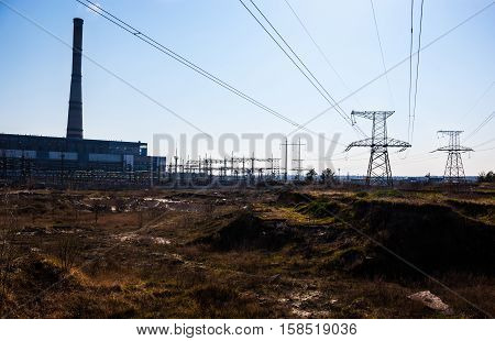 Cogeneration plant in Kyiv (Ukraine) and transmission lines near it.