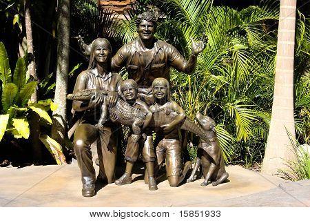 Sculpture of Steve Irwin family at Australia Zoo