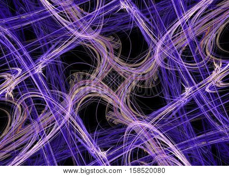 a bunch of abstract lines purple, beige, brown, white, pink flowers intertwined in different directions in a grid lattice on a black background