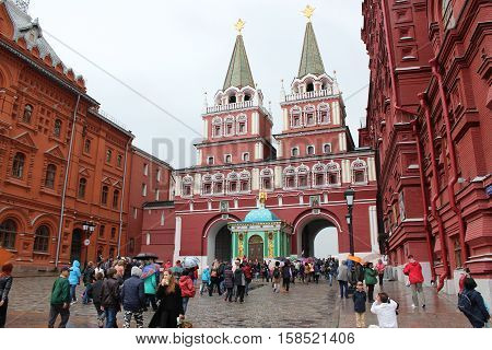 Russia, Moscow 22 May 2016, Resurrection (Iberian) gate in the Kremlin