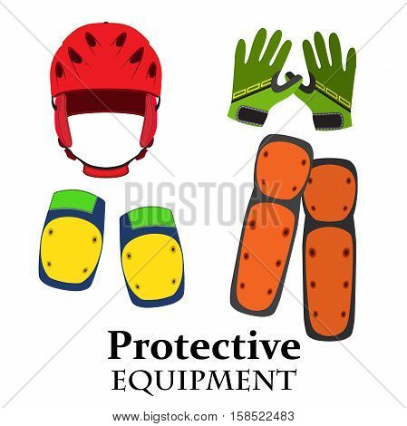 Protection equipment for bike, gear for bicycle in flat style. Helmet, knee pads, elbow pads, gloves in bright trendy colors.