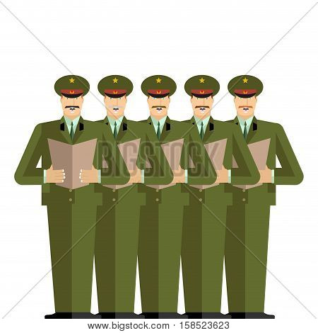 Military Choir. Officers Sing Songs. War Band. Army Musicians