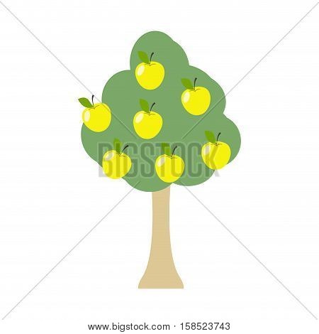 Apple Tree Isolated. Garden Wood With Apples On White Background. Large Fruit Harvest