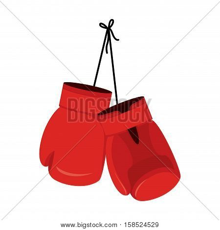 Hanging Red Boxing Gloves. Accessory For Boxer. Sports Equipment