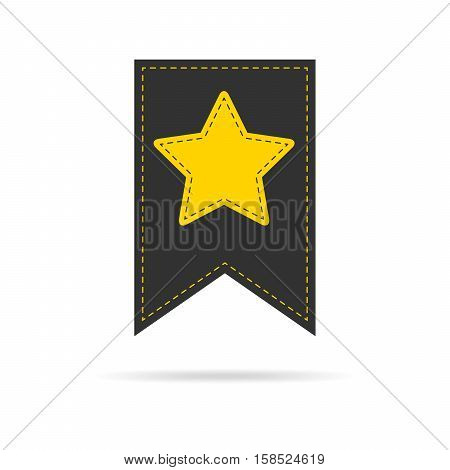 Bookmark icon with yellow star . Vector illustration.