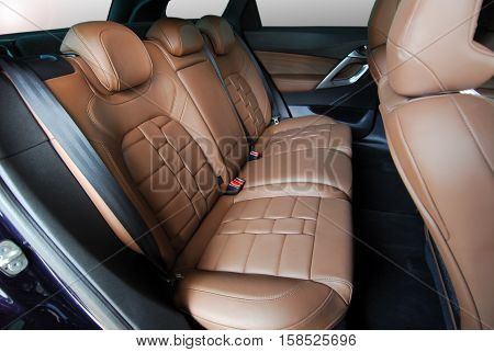 car interior, leather rear seat in the passenger car