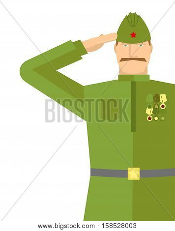 Russian Veteran Soldiers Salute. Retro Military. Vintage Soldier. 9 May Illustration. Holiday In Rus