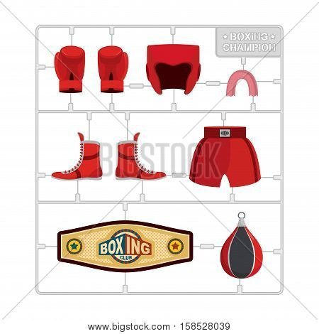 Boxing Set. Collection Champion. Gloves And Protective Helmet. Sports Shorts And Cap. Punching Bag A