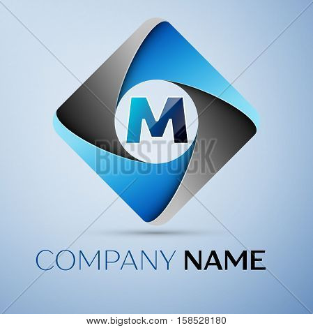 Letter M vector logo symbol in the colorful rhombus. Vector template for your design