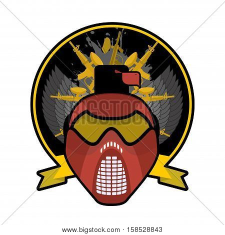 Battle Logo. Paintball Helmet And Weapons. Military Emblem. Army Sign. Awesome Badge For Sports Team