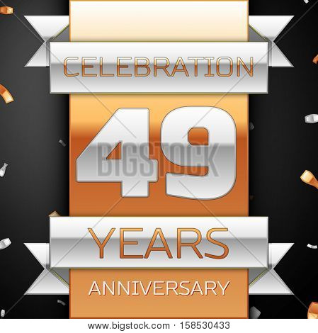 Forty nine years anniversary celebration golden and silver background. Anniversary ribbon