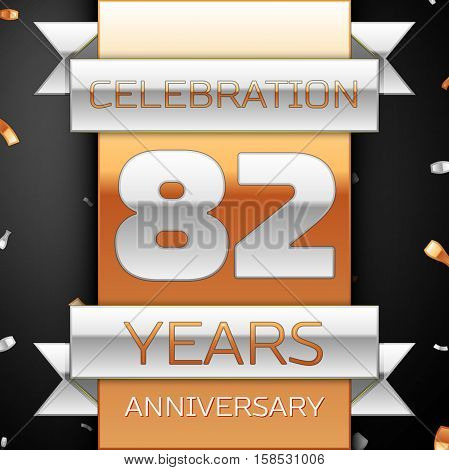 Eighty two years anniversary celebration golden and silver background. Anniversary ribbon