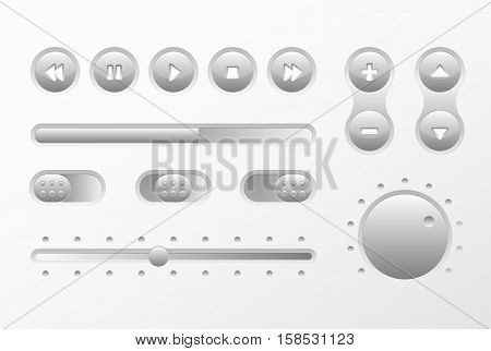 Gray Web UI UX Music Elements Design set: Buttons, Switchers, Slider, loader on light background. Audio bar interface. Player buttons. Ui Ux music interface. Cicrle style buttons. Music controls