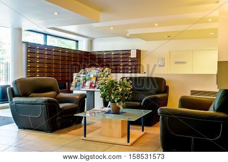 Paris, France - June 02 2011: View Of The Entrance Hall Of A Residence Renting Apartments For Short