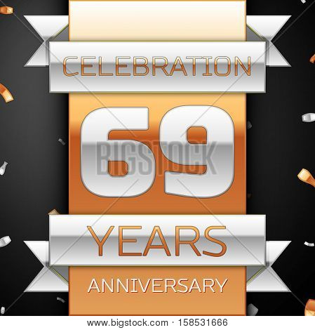 Sixty nine years anniversary celebration golden and silver background. Anniversary ribbon