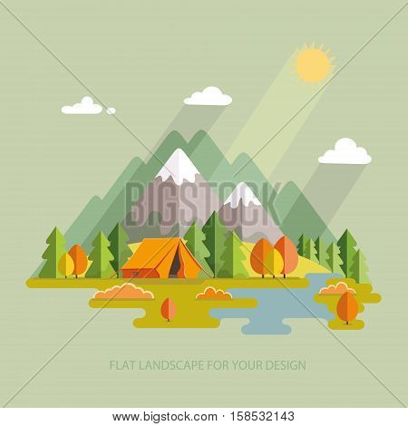 Autumn landscape. Morning landscape in the mountains. Solitude in nature by the river. Weekend in the tent. Hiking and camping. Vector flat illustration