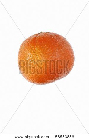 Clementine (Citrus x hybrid Clementina). Hybrid between Mandarin orange and Sweet orange. Image of single fruit isolated on white background