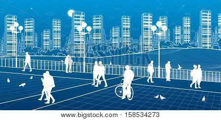 City scene, people walk on the square, city's skyline, white lines on blue background, street life, night town, vector design art