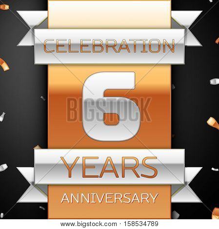 Six years anniversary celebration golden and silver background. Anniversary ribbon