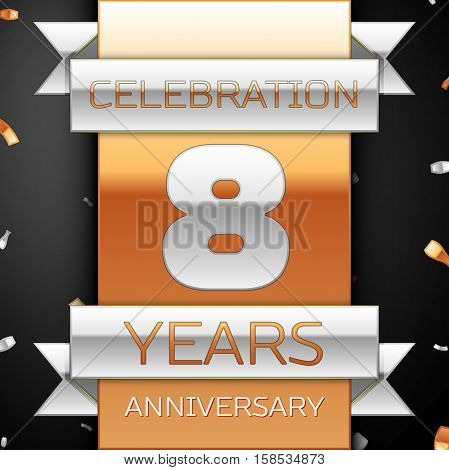 Eight years anniversary celebration golden and silver background. Anniversary ribbon