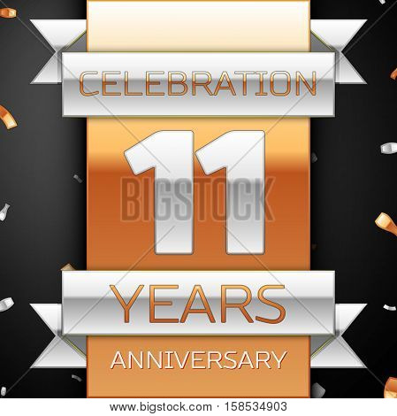 Eleven years anniversary celebration golden and silver background. Anniversary ribbon