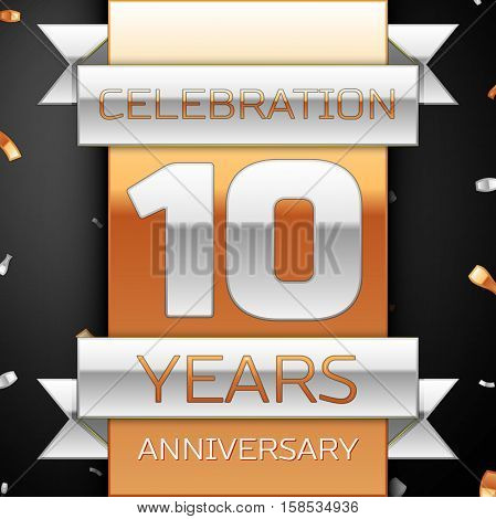Ten years anniversary celebration golden and silver background. Anniversary ribbon