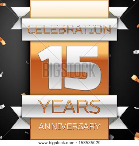 Fifteen years anniversary celebration golden and silver background. Anniversary ribbon