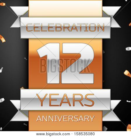 Twelve years anniversary celebration golden and silver background. Anniversary ribbon
