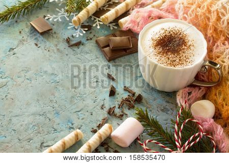 Coffee With Whipped Cream, A Cup Of Cappuccino. Christmas Frame. Copy Space.
