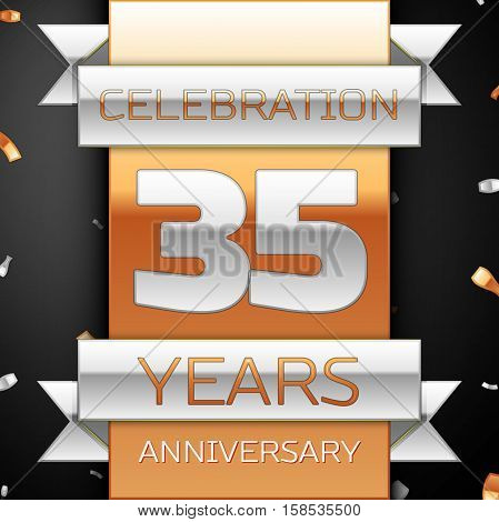 Thirty five years anniversary celebration golden and silver background. Anniversary ribbon