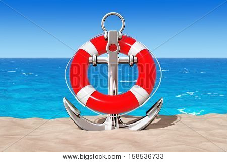 Nautical Anchor with Lifebuoy on the Sand Sunny Beach extreme closeup. 3d Rendering