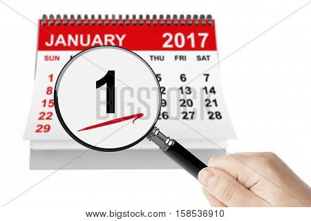 New Year's Day Concept. 1 January 2017 calendar with magnifier on a white background