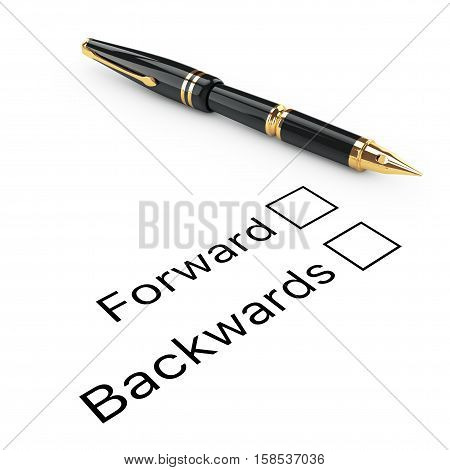 Survey Concept. Forward or Backward Checklist with Golden Fountain Writing Pen on a white background. 3d Rendering