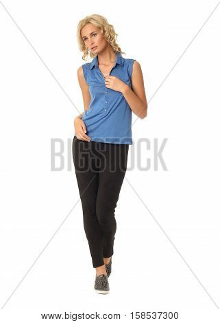 Portrait Of Young Beautiful Blonde In Blue Sleeveless Isolated