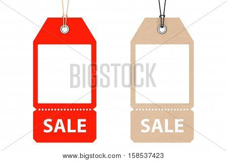 Blank Price Cardboard Tags with Sale Sign on a white background. 3d Rendering