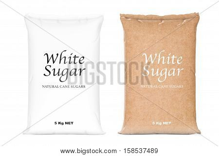 Bags of White Refined Sugar on a white background. 3d Rendering