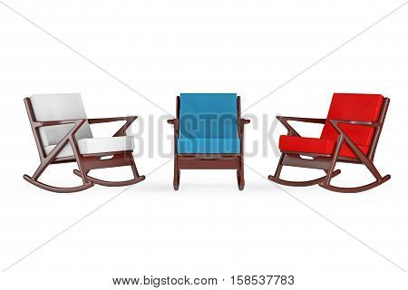 Rocking Chair Upholstered with Multicolour Cloth on a white background. 3d Rendering