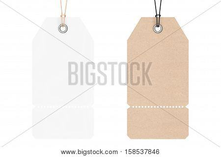 Blank Price Cardboard Tags on a white background. 3d Rendering